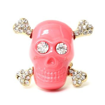 Crystal Skull and Crossbones Ring Adjustable Pink Gothic RC04 Pirate Jolly Roger Skeleton