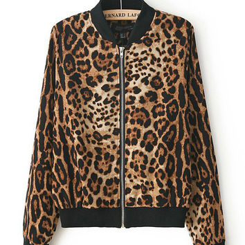 Brown Leopard Print Long Sleeve Jacket with Metal Zipper
