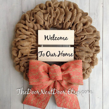 Burlap Wreath - Summer Wreath - All Season Burlap Wreath - Shabby Chic Wreath - Lace Bow Wreath