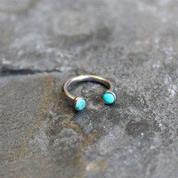 Turquoise Stone Hoop 16G, Lip Ring,Cartilage,Septum,Helix,Nipple Ring,Belly,Eyebrow,Tragus,Rook,Horseshoe Barbell, Custom Ring 16G