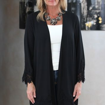 Sheer Cardigan with Lace Trim