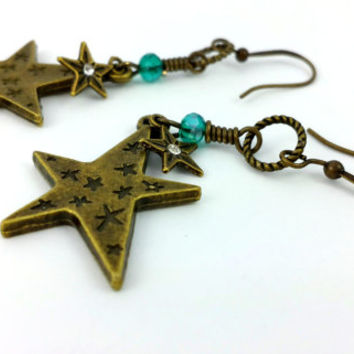 Star Earrings - Star Charm - Swarovski Crystal - Star Dangle - Star Jewelry - Shooting Star - Primitive Star Charm - Primitive Earring