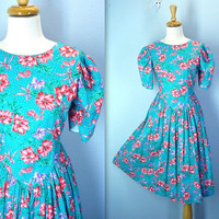 Vintage 80s Dress Garden Floral Drop Waist Puffed Sleeves / s-m