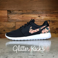 Nike Roshe One Customized by Glitter Kicks - BLACK / WHITE / ROSES