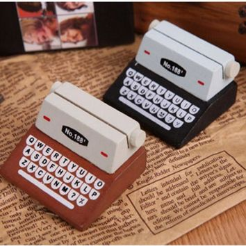 Cute Typewriter Wooden Memo Card Holder Paper Clips for Photo Message Office Supplies Wholesale Free shipping 653