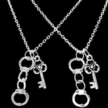 2 Necklaces Key Handcuff Partners In Crime Best Friends Police Couple