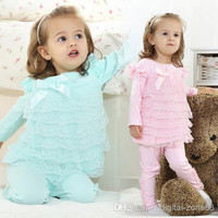 4 Set/lot + New Arrivals 2014 Baby Girl Clothing Cotton Beautiful Sweet Multistep Lace Group Leisure Suit Outfits For Spring/Summer/Autumn