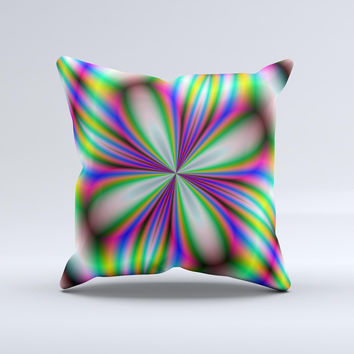 Neon Tie-Dye Flower ink-Fuzed Decorative Throw Pillow