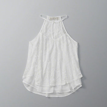ANF Lace High Neck Halter Top | ANF Womens | Abercrombie.com
