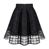 Black High Waist Tutu Skirts Plus Size Organza Gauze Plaid Stripes Skirts