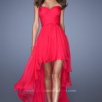 Hot Fuchsia Strapless High Low Prom Dress