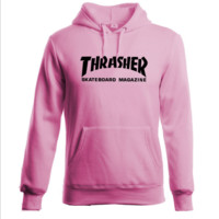 """Thrasher""Thickening hoodie hooded cotton red flame Black letters Pink"