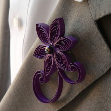 Grape Purple Boutonniere, Violet Purple Flower Wedding Boutonniere for Men