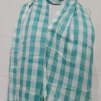 Turquoise Green and White Scarf - Turquoise Green and White Men's and Women's Scarf - Turquoise and White Soft Cotton Scarf - KR1411058
