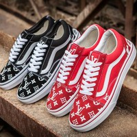 Vans Era x Supreme x LV Old Skool Canvas Flat Sneakers Sport Shoes