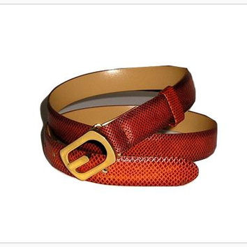 Luxury EMMANUEL Genuine Iguana Exotic Skin Ladies Belt in Warm Cognac Tan size S/M - New Old Stock, Never worn