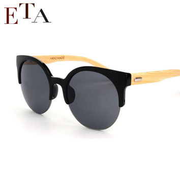 Half Frame Bamboo Sunglass 2015 Fashion Wooden Sunglasses Women Sunglasses Sun Glasses Oculo De Sol Masculino