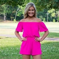 Hot Pink off the shoulder Romper