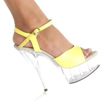 6 Inch Stiletto Heel Neon Yellow Sandal