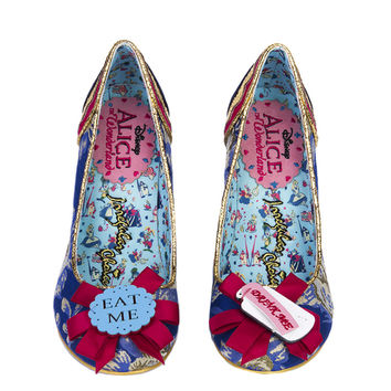 Irregular Choice x Alice in Wonderland Curious Feeling Heels - Dark Blue And Gold Floral Brocade