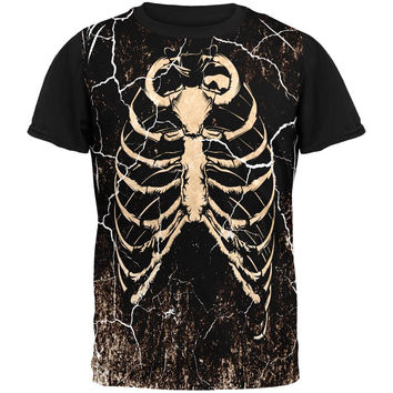 Halloween Distressed Cracked Skeleton Rib Cage Costume All Over Mens Black Back T Shirt