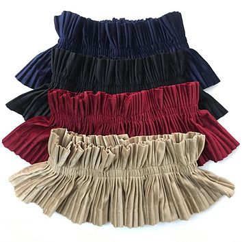 Elegant Ruffles Velvet Belt Elastic Wide Wide Waistband For Women Brief Black Belts For Dresses Coat Female Elastic Cummerbund