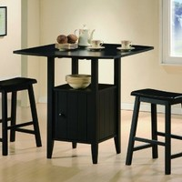 3 Pc Black Finish Counter Height Drop Leaf Pub Set with Saddle Stools