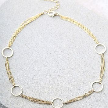 Going in Circles Gold Choker Necklace