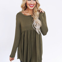 Solid Babydoll Tunic- Olive