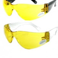 UV Protecting Adjustable Safety Glasses Yellow Tint,7821 (2 pack)