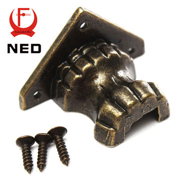 NED 4pc Antique Brass Jewelry Chest Wood Box Decorative Feet Leg Corner Bracket Protector For Furniture Cabinet Protect Hardware