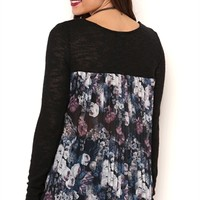 Long Sleeve Knit Sweater with Floral Pleated Woven Back