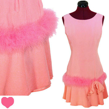 Dress Vintage 60s PINK Mod Marabou FEATHER Cocktail PARTY Dress S M Twiggy Candy Bow