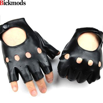 Fingerless gloves 2017 Guantes Men's Pu Material Fake Leather Half Finger Gloves Unlined Lining Style Sports Cycling Driving