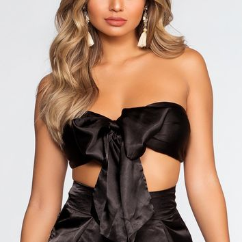 Pop The Bubbly Satin Crop Top - Black