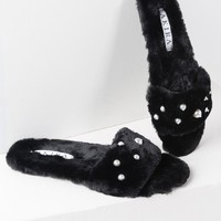 WASNT ME FAUX FUR SLIDE SANDALS