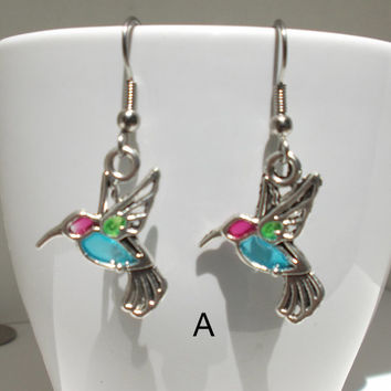 Faux Stained Glass Hummingbird Earrings - mother's day, gift for her, girlfriend, sister, teenager, geek, spring, easter