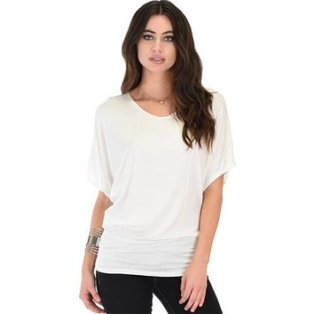 IVORY SHORT SLEEVE DOLMAN TUNIC TOP