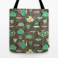 Tea pattern. Tote Bag by Julia Badeeva