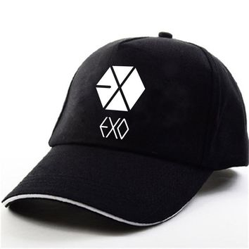 Trendy Winter Jacket YOUPOP KPOP EXO THE WAR Wolf EXACT EXODUS  Album Baekhyun Chanyeol Black Baseball Cap Hip-hop Cap Men Women Hats AT_92_12