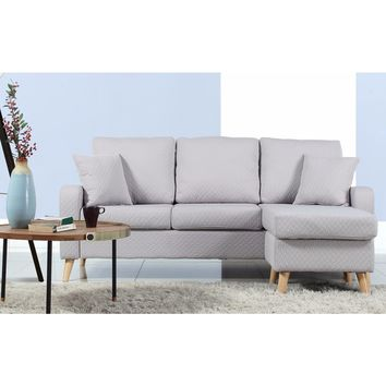 Mid-Century Modern Small Space Sectional Sofa with Reversible Chase | Overstock.com Shopping - The Best Deals on Sectional Sofas