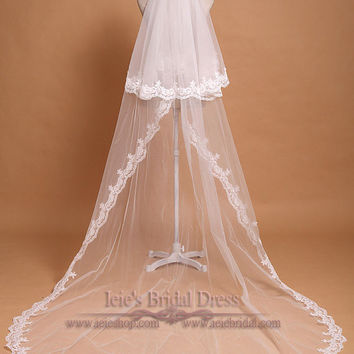 Chapel Length Two Tier Lace Wedding Veil | Long Wedding Veil | VG1043