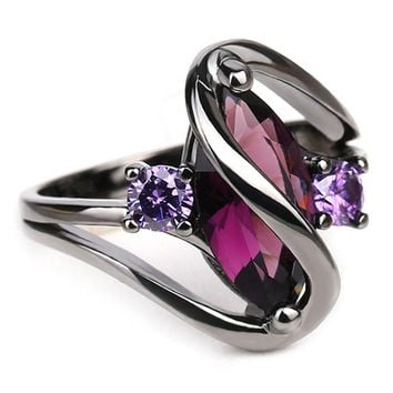 Trendy Pink Engagement Wedding Rings For Women Horse Eye Cz Black Gold Rings Party Jewelry Bague Femme Anillos
