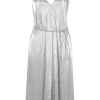 Metallic Deep V-Neck Strappy Midi Dress - Silver