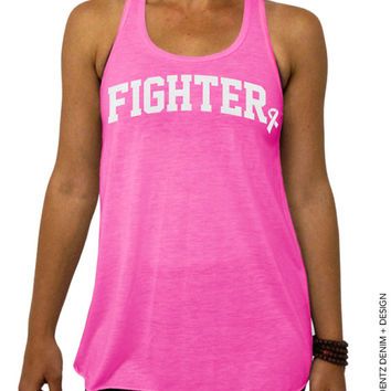Fighter - Breast Cancer Awareness - Pink Flowy Tank Top