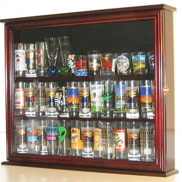 Wall Mounted Curio Cabinet / Sports Shot Glass Display Case Solid Wood Glass ...