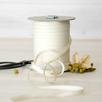 """Natural Cotton Ribbon - 5, 20 or 109 Yards - 100% Cotton from Italy - 1/4"""" wide - Ivory Color Ribbon - Ribbons for Weddings - Eco Friendly"""