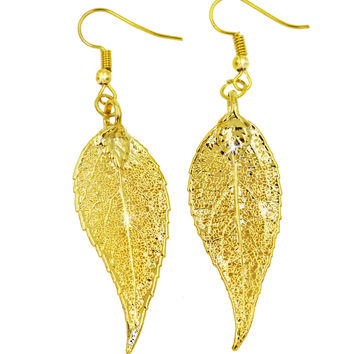 Real Leaf Hook Drop EARRINGS EVERGREEN Dipped in 24K Yellow Gold Genuine Leaf