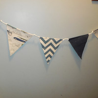 Blue, Green and Natural Car Themed Fabric Bunting For Child's Room Decor