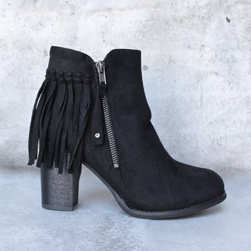 City Chic Fringe Vegan Suede Ankle Boot   Black